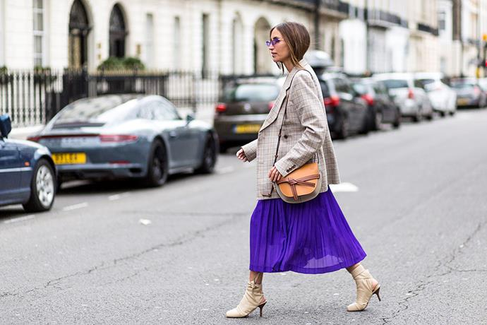 4. Ultraviolet<br><br> Pantone's 'Colour Of The Year' for 2018 was Ultraviolet, and it wasn't hard to see why at autumn winter '18, where showgoers adopted the polarising shade with expert ease.<br><br> Image: Getty