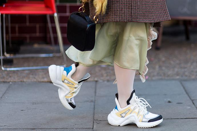 """3. """"Ugly"""" sneakers<br><br> Louis Vuitton and Balenciaga both debuted """"ugly"""" sneakers last season, and, as expected, they've sold among the style set like hotcakes. <br><br> Image: Jason Lloyd-Evans"""