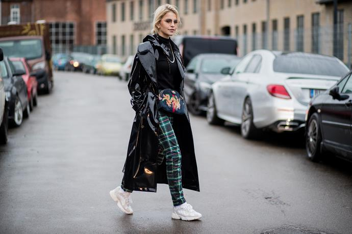 """3. """"Ugly"""" sneakers<br><br> Louis Vuitton and Balenciaga both debuted """"ugly"""" sneakers last season, and, as expected, they've sold among the style set like hotcakes. <br><br> Pictured: Caroline Daur<br><br> Image: Getty"""