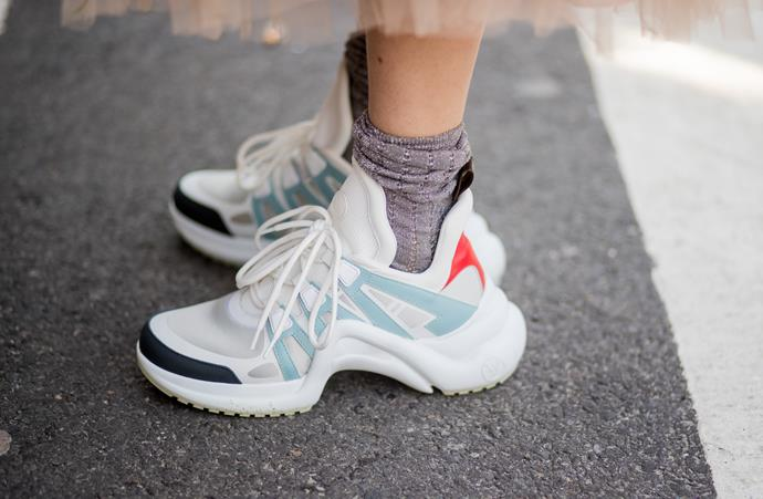 """3. """"Ugly"""" sneakers<br><br> Louis Vuitton and Balenciaga both debuted """"ugly"""" sneakers last season, and, as expected, they've sold among the style set like hotcakes. <br><br> Image: Getty"""