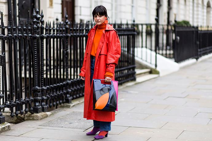 2. Red vinyl trench coats<br><br> Blake Lively stole the show at New York Fashion Week wearing a fire engine red vinyl trenchcoat to Michael Kors' autumn winter '18 show. It's continued to crop up at fashion month since.  <br><br> Image: Jason Lloyd-Evans