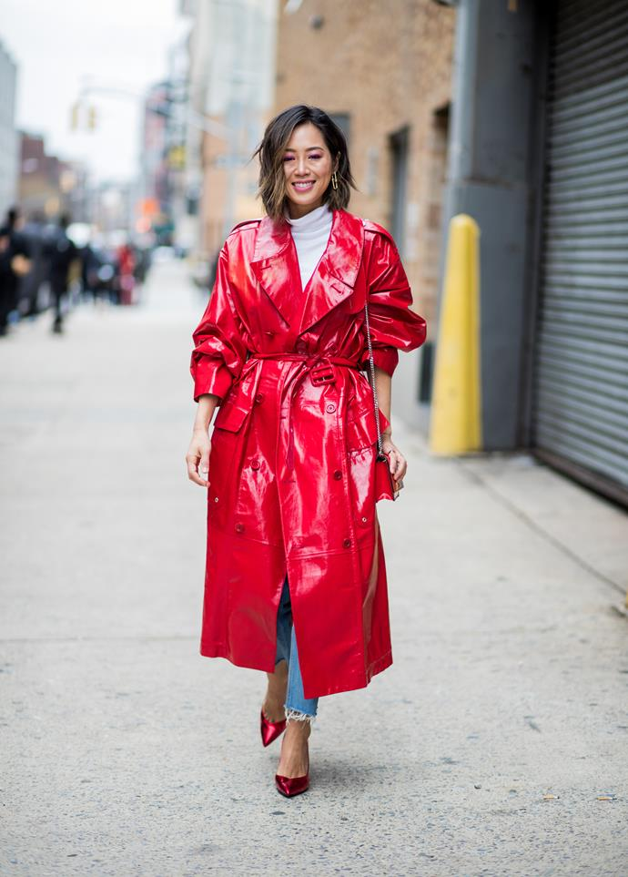 2. Red vinyl trench coats<br><br>  Blake Lively stole the show at New York Fashion Week wearing a fire engine red vinyl trenchcoat to Michael Kors' autumn winter '18 show. It's continued to crop up at fashion month since.  <br><br> Pictured: Aimee Song<br><br>  Image: Getty