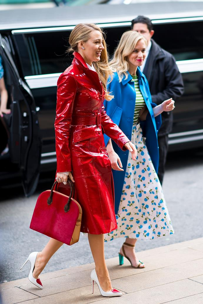2. Red vinyl trench coats<br><br>  Blake Lively stole the show at New York Fashion Week wearing a fire engine red vinyl trenchcoat to Michael Kors' autumn winter '18 show. It's continued to crop up at fashion month since.  <br><br>  Pictured: Blake Lively<br><br> Image: Getty
