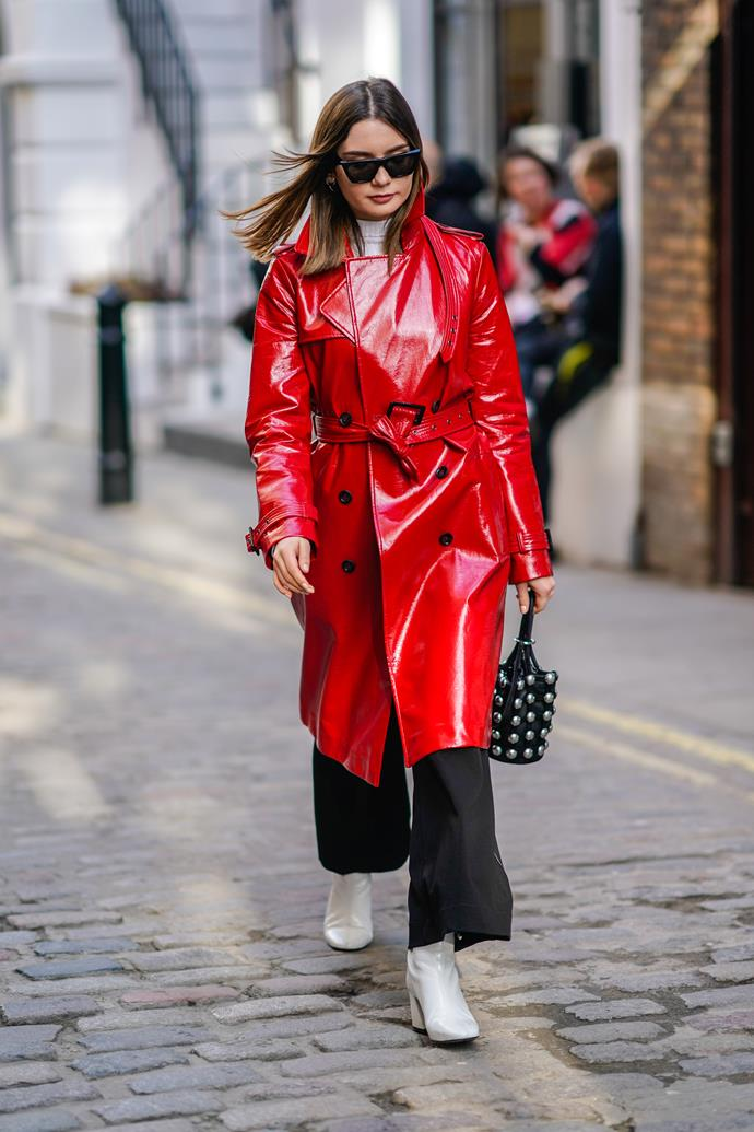 2. Red vinyl trench coats<br><br> Blake Lively stole the show at New York Fashion Week wearing a fire engine red vinyl trenchcoat to Michael Kors' autumn winter '18 show. It's continued to crop up at fashion month since.  <br><br> Image: Getty