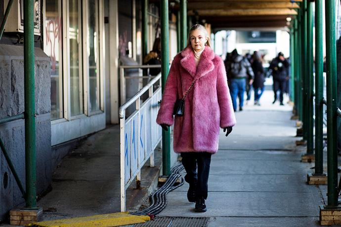9. Pink fluffy coats<Br><br> Fashion is officially embracing colour again. Case in point? The abundance of bubblegum pink faux fur jackets spotted at the shows. <br><br> Image: Jason Lloyd-Evans