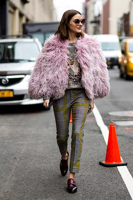 9. Pink fluffy coats<Br><br> Fashion is officially embracing colour again. Case in point? The abundance of bubblegum pink faux fur jackets spotted at the shows. <br><br>  Pictured: Olivia Palermo<br><br> Image: Jason Lloyd-Evans