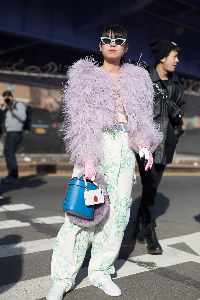 9. Pink fluffy coats<Br><br> Fashion is officially embracing colour again. Case in point? The abundance of bubblegum pink faux fur jackets spotted at the shows. <br><br> Image: Getty