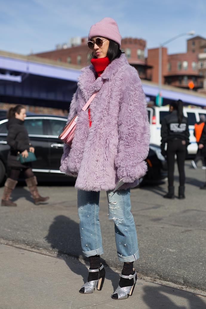 9. Pink fluffy coats<Br><br> Fashion is officially embracing colour again. Case in point? The abundance of bubblegum pink faux fur jackets spotted at the shows. <br><br> Pictured: Eva Chen<br><br> Image: Getty