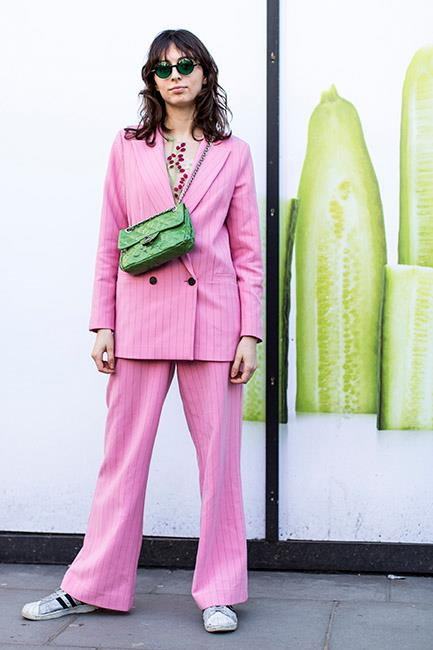 1. Pastel suits<br><br>  The style set is still taking cues from Hillary Rodham Clinton—with oversized pant suits still reigning supreme during AW '18. This season the colour palette was slightly different, with pastels and sorbets in abundance.<br><br>  Image: Jason Lloyd-Evans