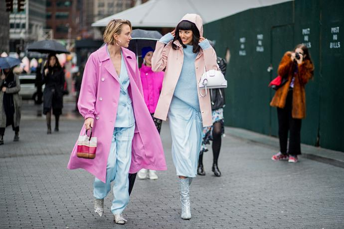 1. Pastel suits<br><br>  The style set is still taking cues from Hillary Rodham Clinton—with oversized pant suits still reigning supreme during AW '18. This season the colour palette was slightly different, with pastels and sorbets in abundance.<br><br>  Image: Getty