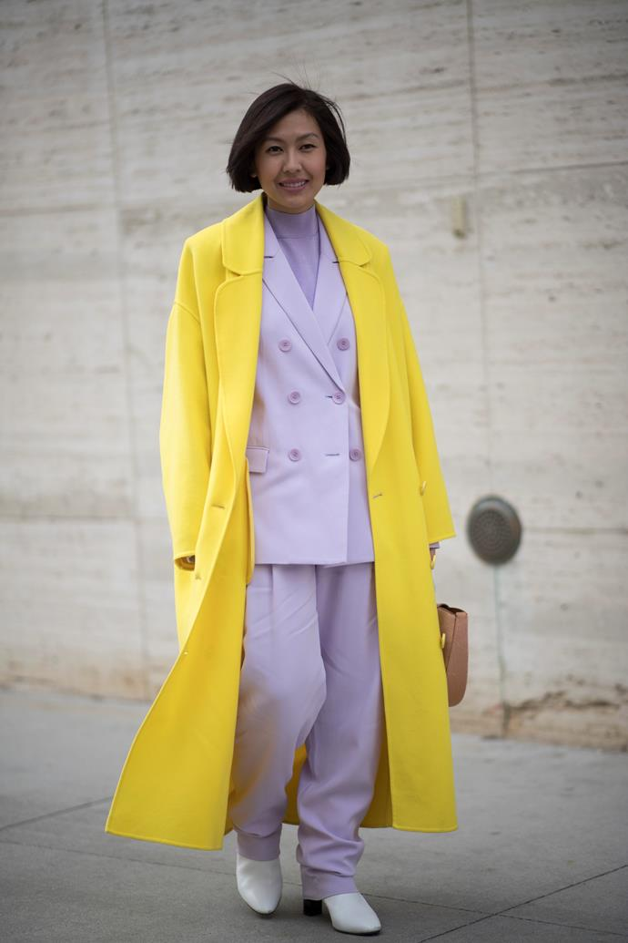 1. Pastel suits<br><br>  The style set is still taking cues from Hillary Rodham Clinton—with oversized pant suits still reigning supreme during AW '18. This season the colour palette was slightly different, with pastels and sorbets in abundance.<br><br>  Pictured: Liz Uy<br><br>  Image: Getty