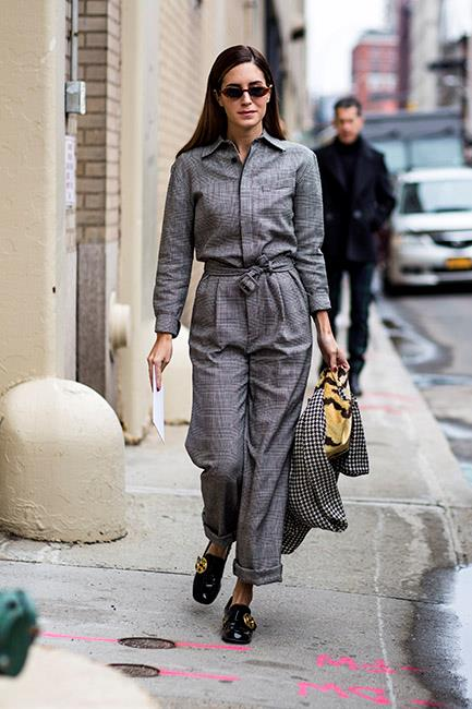 6. Boiler suits<br><br> An unexpected level of utilitarianism came in the form of boiler suits, which were spotted in colours and prints ranging from rust to khaki to leather and tartan. <br><br> Image: Jason Lloyd-Evans