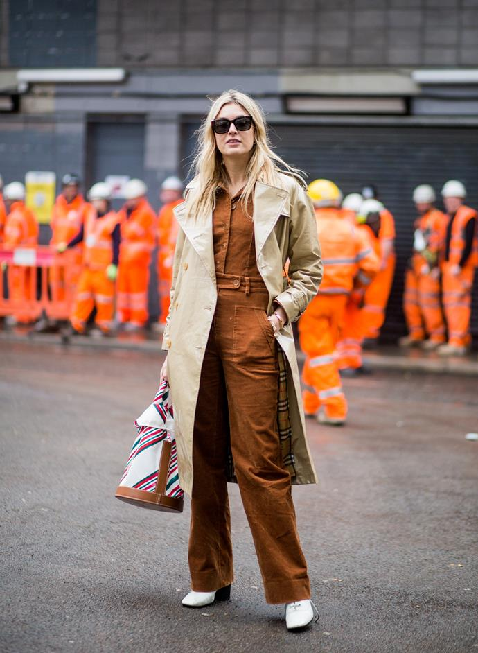 6. Boiler suits<br><br> An unexpected level of utilitarianism came in the form of boiler suits, which were spotted in colours and prints ranging from rust to khaki to leather and tartan. <br><br>  Image: Getty