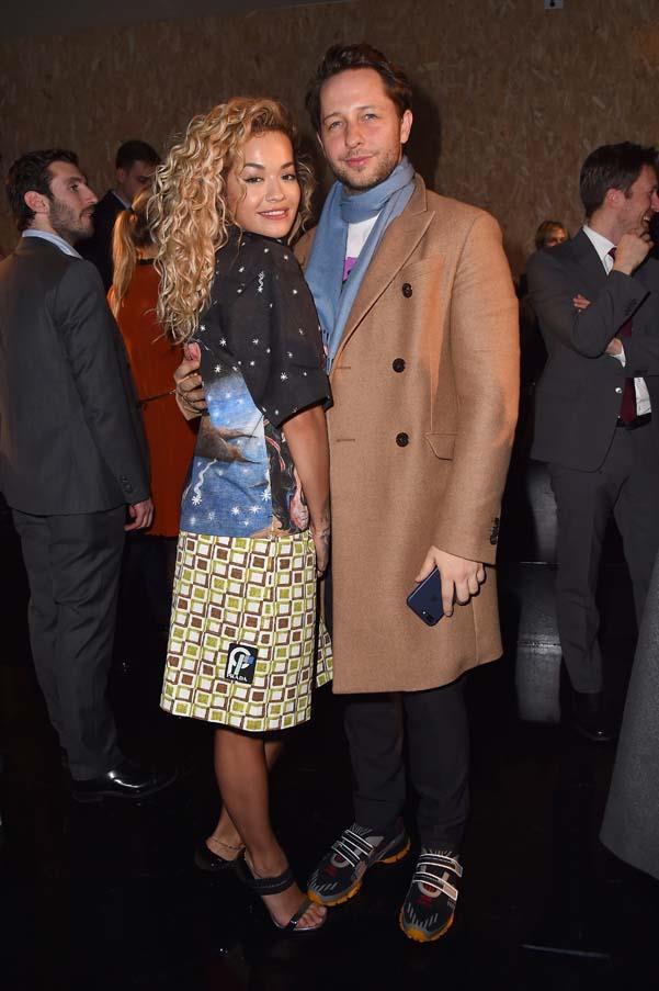 Rita Ora and Derek Blasberg front row at Prada autumn winter '18.