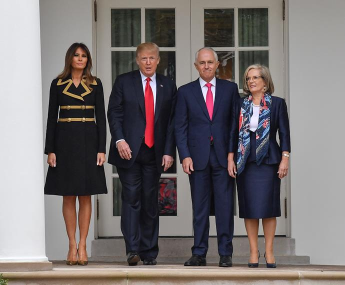 Melania wore a coat dress by Dolce & Gabbana and Manolo Blahnik heels to meet Australian Prime Minister  Malcolm Turnbull and his wife, Lucy, at the White House.