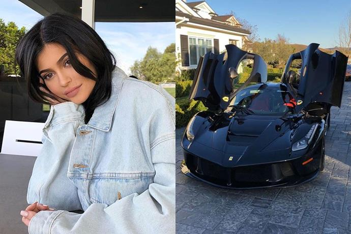 """**Kylie Jenner** <br><br> While she wasn't gifted jewellery following the birth of her first child, Stormi, Kylie Jenner's push present far exceeds the value of many of the post-birth gifts we've ever come across. Just a few days ago, Jenner took to Snapchat to share with fans [her brand new Ferrari LaFerrari](https://www.elle.com.au/celebrity/kylie-jenner-push-present-15927