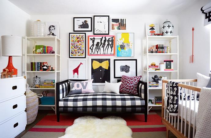 """**Ioni James Conran** <br><br> Of course, it comes as no surprise that Coco Rocha's daughter has an utterly chic nursery. The aesthetic is deliberately more grown-up than the other setups we've seen so far, and showcases the couple's love of art. <br><br> """"I never wanted a nursery to look too babyish,"""" Rocha said [back in 2015](https://www.vogue.com/article/coco-rocha-nursery-daughter-ioni