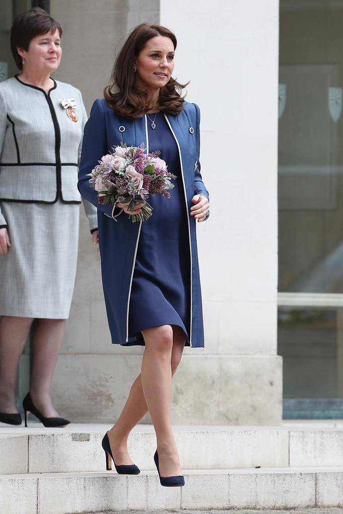 February 28 2018 - In a Jenny Packham blue coat and dress and Jimmy Choo heels while visiting London's Royal College of Obstetricians and Gynaecologists.