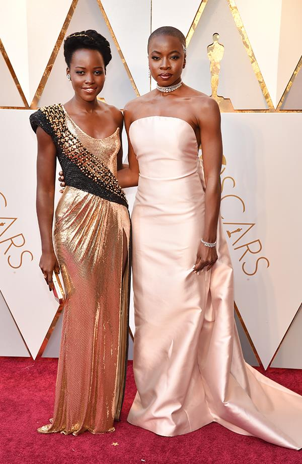 Lupita Nyong'o in Versace and Danai Gurira in Gabriela Hearst