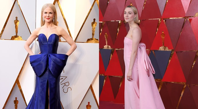 ***Bow Down***<br><br> It's hard to believe that there was anything comparable about **Nicole Kidman's** shining Armani gown, but it did share one thing in common with Best Actress nominee, **Saoirse Ronan's**, bubblegum pink Calvin Klein By Appointment dress. Both trailing dresses sported a rather over-the-top bow as their main eye-catcher. Nicole's, placed across the hips to create a more interesting silhouette, and Saoirse's, situated high at the back of her column gown leading down into a train, added interest and intrigue into what could have been two ordinary dresses.