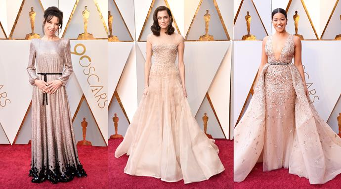 ***Champagne Dreams*** <br><bR> If you're looking for a stand-out colour on the red carpet this year, look no further than sparkling, shimmering, shining champagne. The soft shade was a feature on **Allison Williams** and **Sally Hawkins'** Armani Privé dresses, **Gina Rodriguez's** Zuhair Murad confection, and **Abbie Cornish's** Elie Saab look (not pictured). The delectable colour was accompanied by some serious embellishment on all the looks, adding some interest into a fairly middle-of-the-road shade.