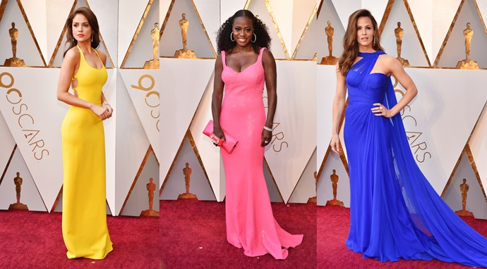 ***Crayon Couture***<br><br> It's time to steer clear of blacks, greys, whites and beiges—according to **Viola Davis** (Michael Kors), **Eiza González** (Ralph Lauren) and **Jennifer Garner** (Atelier Versace), it's all about the technicolour moment this season. Dipping into the paint palette for their inspiration, the three joined **Samara Weaving** in tangerine Schiaparelli, **Greta Gerwig** in saffron Rodarte and **Ashley Judd** in royal purple Badgley Mischka. The added virtue of complete simplicity and minimal styling made these tree the brightest crayons in our Best Dressed box.