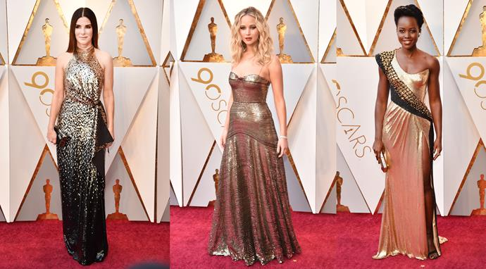 ***Studio 54*** <br><br> To balance out all that colour-blocking and matte fabric, there were a few celebs on hand to bring a little glitter into the mix. **Jennifer Lawrence**, in bronze Dior; **Sandra Bullock**, in ombre Louis Vuitton; **Lupita Nyong'o**, in liquid gold Versace. **Gal Gadot** (in Givenchy) and **Zoe Deutch** (in Elie Saab) are also honourable mentions.