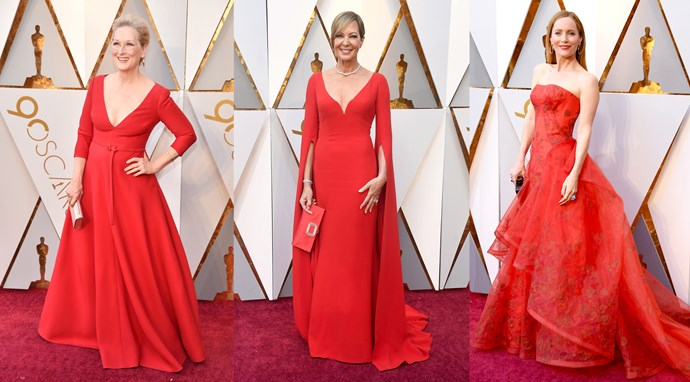 ***Red Hot***<br><br> And the Oscar for Most Worn Colour goes to… Candy apple red. Several celebs today, including **Meryl Streep** (in Dior), Best Supporting Actress winner **Allison Janney** (in Reem Acra) and **Leslie Mann** (in Zac Posen), picked a red-hot shade to power their looks. And they weren't alone: **Sofia Carson**, **Maya Rudolph** and **Blanca Blanco** were also of the same mind.