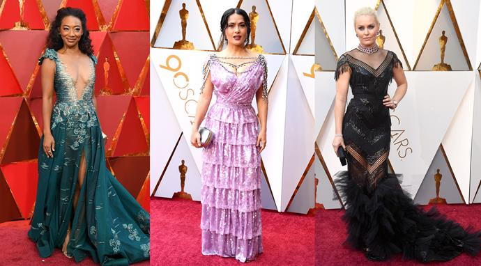 ***They, Tonya***<br><br> Maybe it was Margot Robbie's effervescent twirling, maybe it was the custom Gucci bodysuit on the cover of our March issue, or maybe it was the recently-passed Winter Olympics, but glitzy figure skating costumes certainly made their mark at the Oscars—from jewel details on **Salma Hayek's** lilac Gucci gown, to bedazzled illusions on **Betty Gabriel**. Real-life alpine skier **Lindsey Vonn** also brought some Olympic gold to the red carpet in her black sheer dress. 10 for 10.