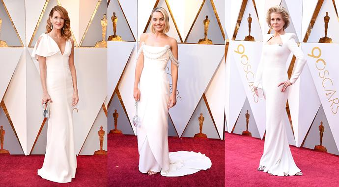 ***White Knight***<br><br> It might be considered too bridal for some, but **Margot Robbie's** Chanel Couture, **Jane Fonda's** Balmain, and **Laura Dern's** Calvin Klein by Appointment, proved that white is anything but boring. Crisp, clean and uncomplicated, all three ladies went with minimal stylist, fresh blow-outs and a subtle infusion of bling—a combination we would say 'I do' to, any day.