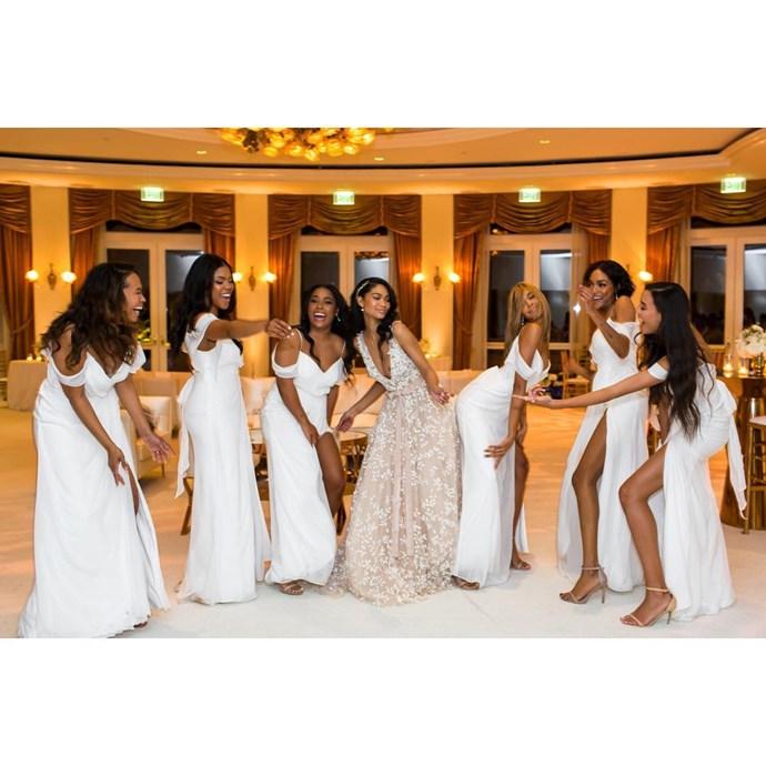 "Chanel Iman's wedding to Sterling Shepherd. (Via Instagram) <br><Br> Chanel Iman dressed her bridesmaids in the [Aldo 'Caraa' sandals in bone](https://www.aldoshoes.com/us/en_US/Caraa/p/50757482-34|target=""_blank"")."