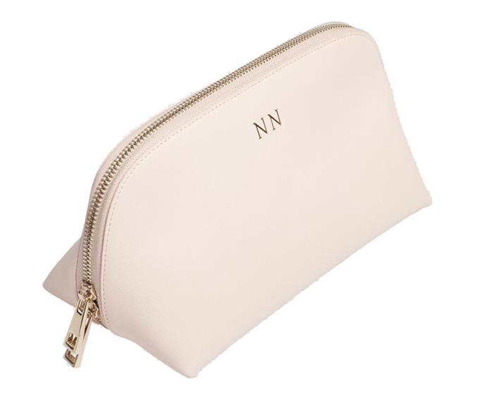 """**Monogrammed Cosmetics Case by The Daily Edited, $119.95 from [The Daily Edited](https://www.thedailyedited.com/large-pale-pink-cosmetic-case