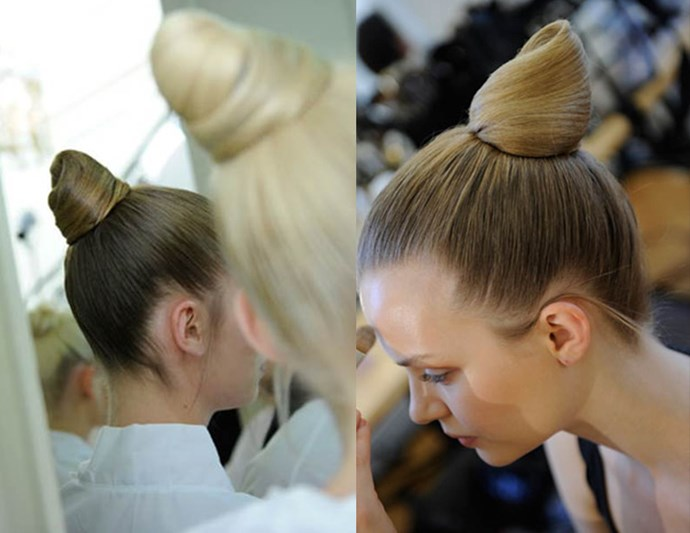 Prima Ballerina: Redken's Guido Palau whipped up cone-like buns to create prima ballerina hair with a neat '70s feel at Valentino.