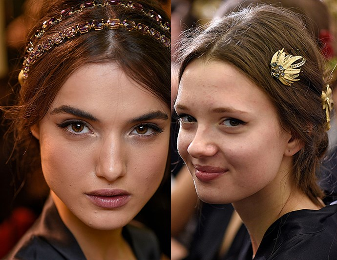 Embellished Opulence: Dolce & Gabbana's and embellished hair pieces make for an ideal luxe wedding look, dressing up the otherwise low-key center part and low bun.