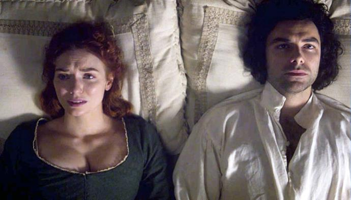 **5. Poldark** <br><br> If you're a moodier romantic, *Poldark* is just for you. Ross Poldark returns from war, presumed a dead man, to find his lover engaged to his cousin. What follows is a passionate and utterly forbidden relationship between a downtrodden hero and his unconventional wife, who are often frustrated and at odds with their antiquated society.