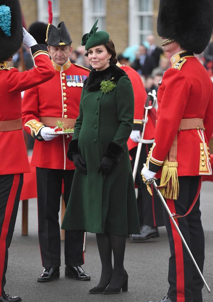 March 17 2018 - In a British racing green coat with matching hat for St Patrick's Day in Hounslow.