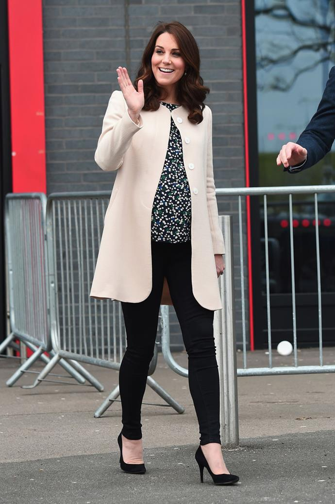 March 22 2018 - In black trousers (an unconventional choice for the Duchess), a printed top and champagne jacket leaving SportsAid in London.