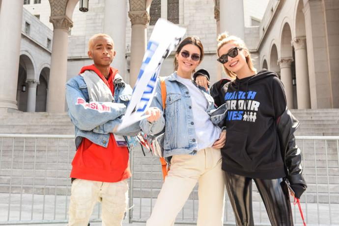 Jaden Smith, Kendall Jenner and Hailey Baldwin  Image: Getty