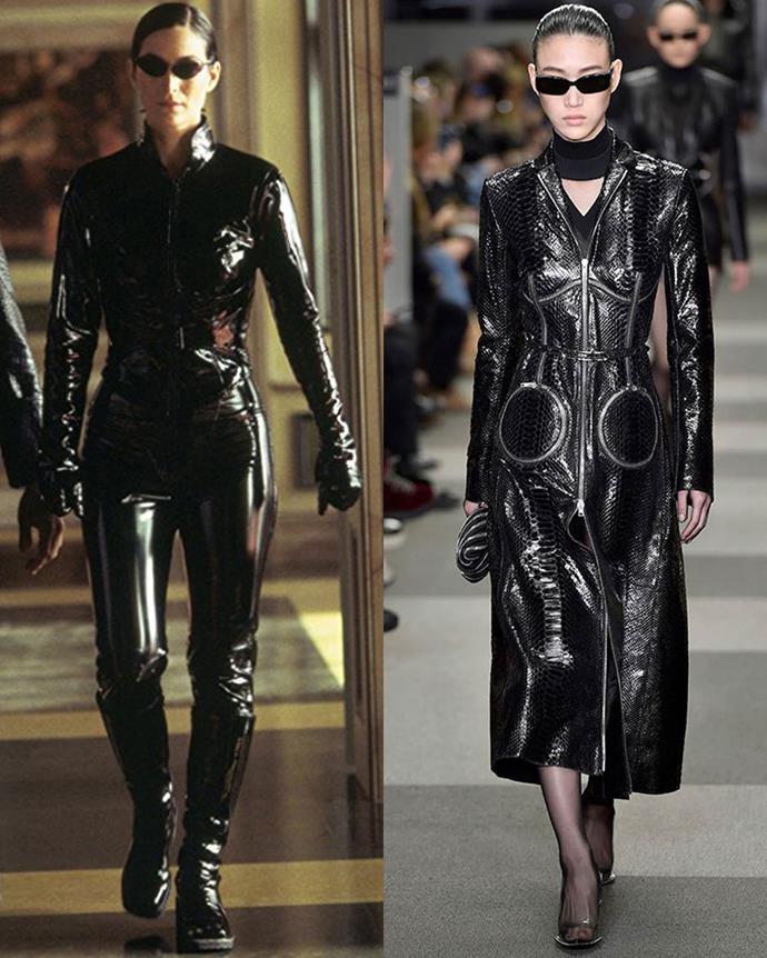 Left: *The Matrix* (1999); Right: Alexander Wang autumn/winter '18