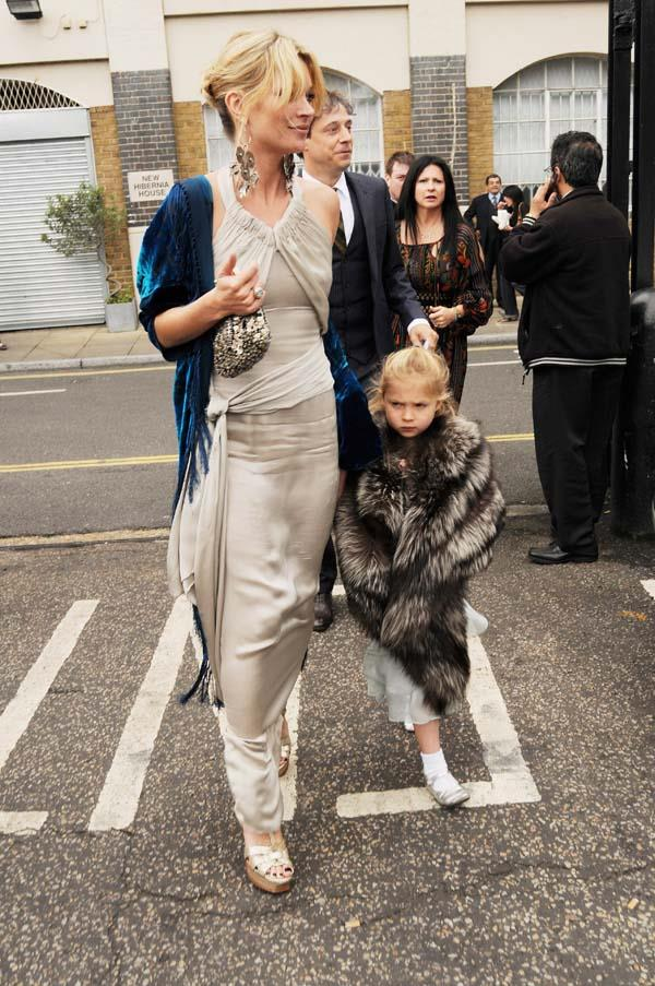 Kate Moss at the wedding of Leah Wood and Jack Macdonald