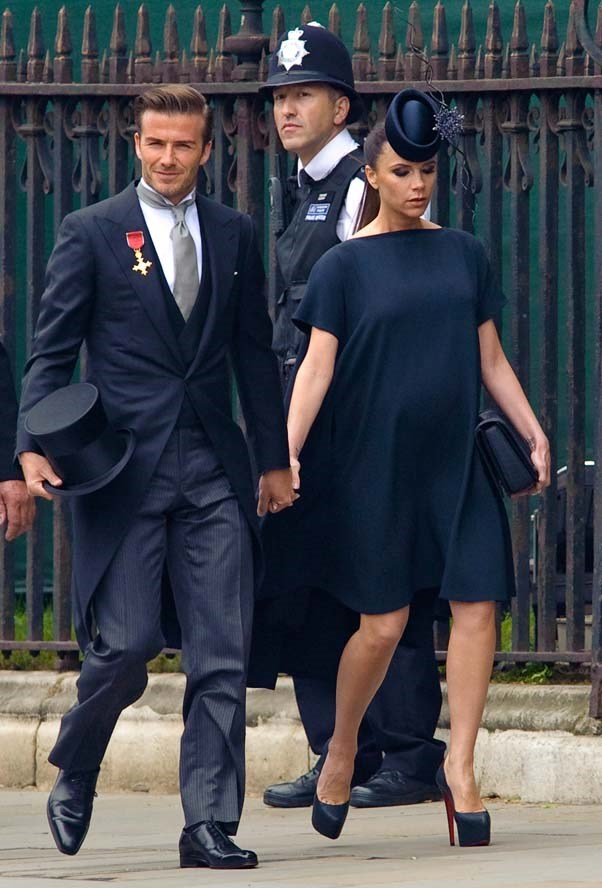 David Beckham and Victoria Beckham at the wedding of Prince William and Kate Middleton