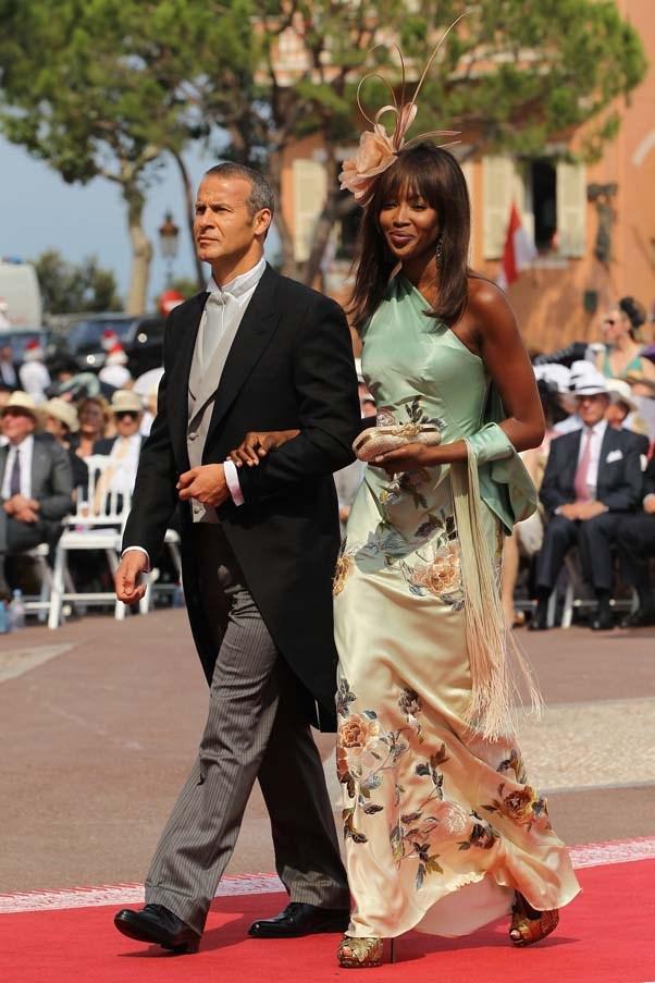 Naomi Campbell at the wedding of Prince Albert II of Monaco to Princess Charlene of Monaco