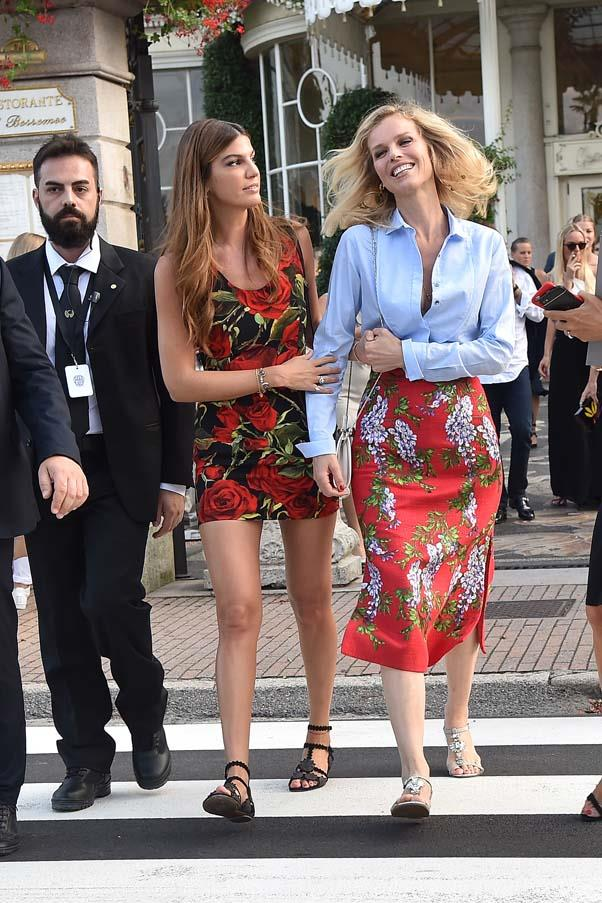 Bianca Brandolini d'Adda and Eva Herzigova at the wedding of Beatrice Borromeo and Pierre Casiraghi