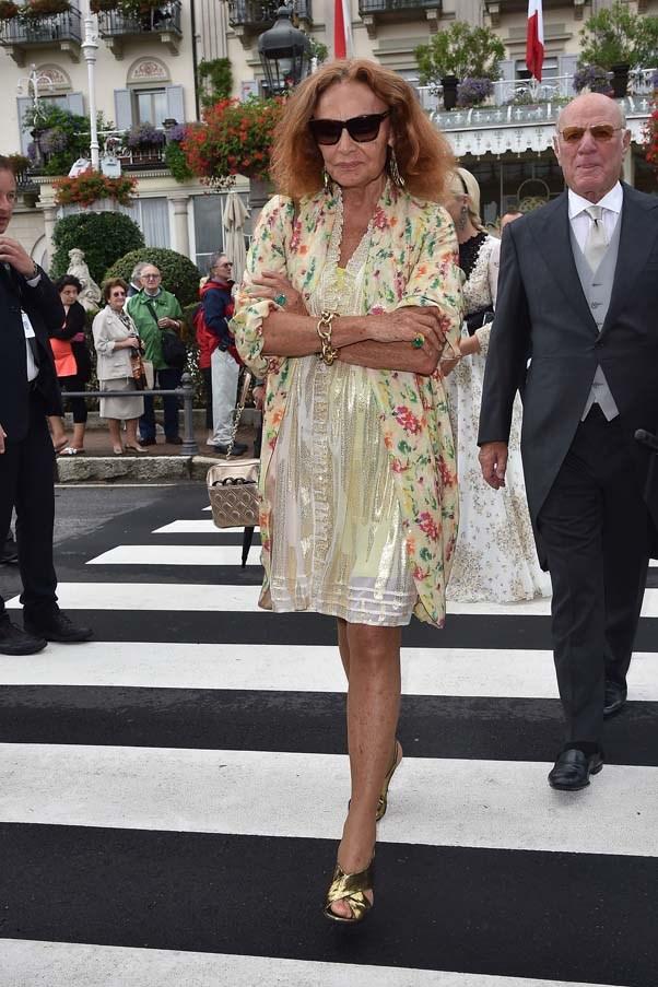 Diane von Furstenberg at the wedding of Beatrice Borromeo and Pierre Casiraghi