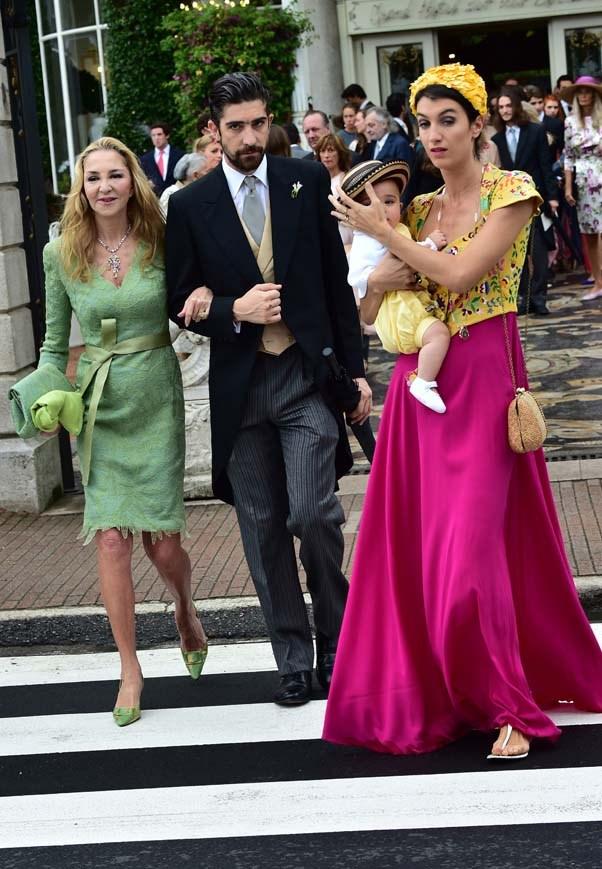 Paola Borromeo, Carlo Borromeo and Marta Ferri at the wedding of Beatrice Borromeo and Pierre Casiraghi