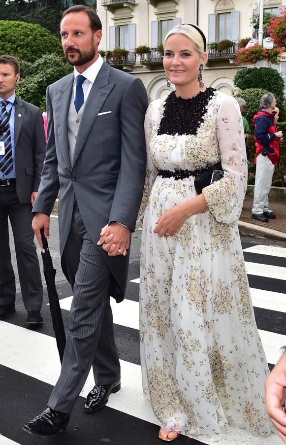 Crown Princess Mette-Marit of Norway and Crown Prince Haakon of Norway at the wedding of Beatrice Borromeo and Pierre Casiraghi