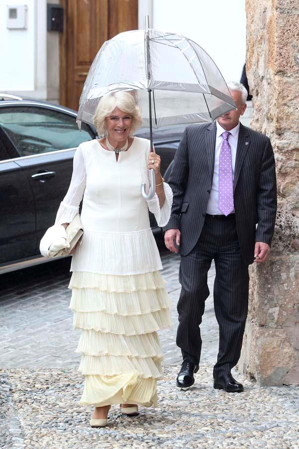 Camilla Parker Bowles at the wedding of Lady Charlotte Wellesley and Alejandro Santo Domingo