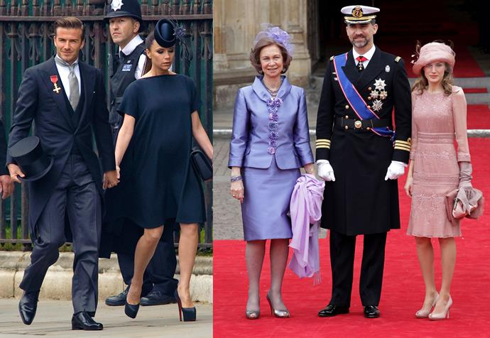 David and Victoria Beckham at the 2011 royal wedding; Queen Sofia, King Felipe and Queen Letizia of Spain at the 2011 royal wedding.