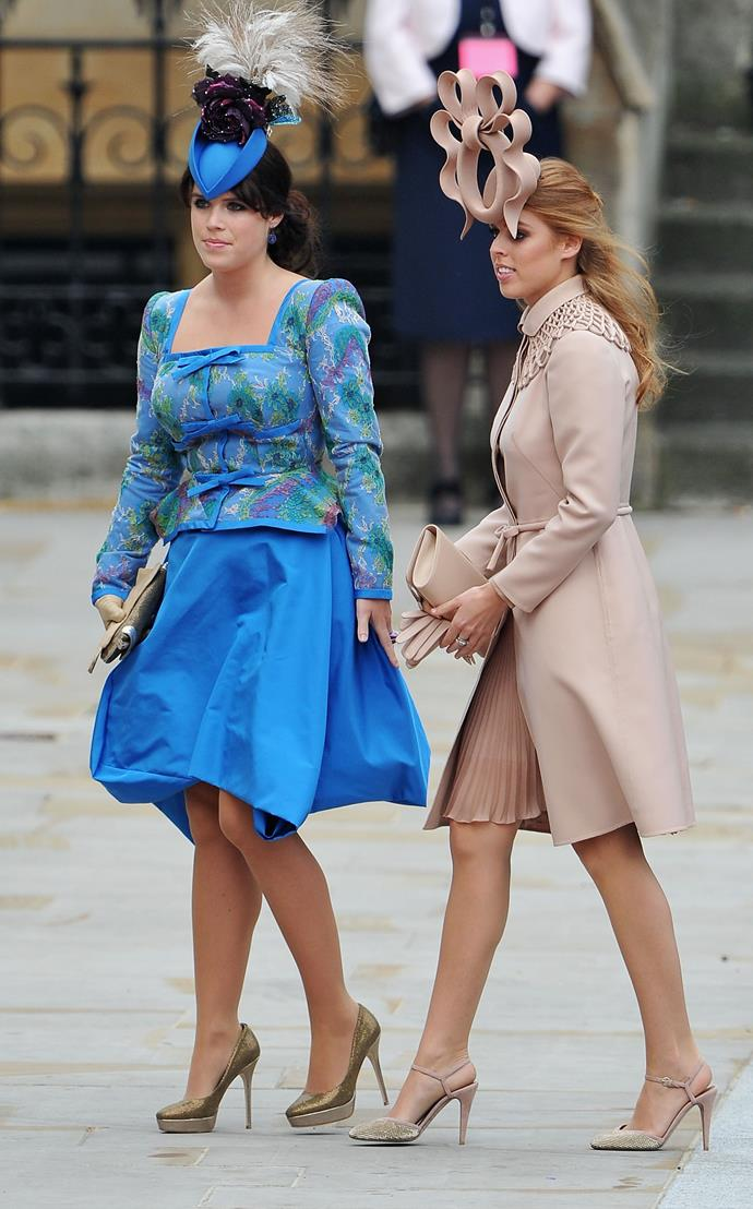 Princesses Beatrice and Eugenie attending the wedding of Prince William and Kate Middleton.
