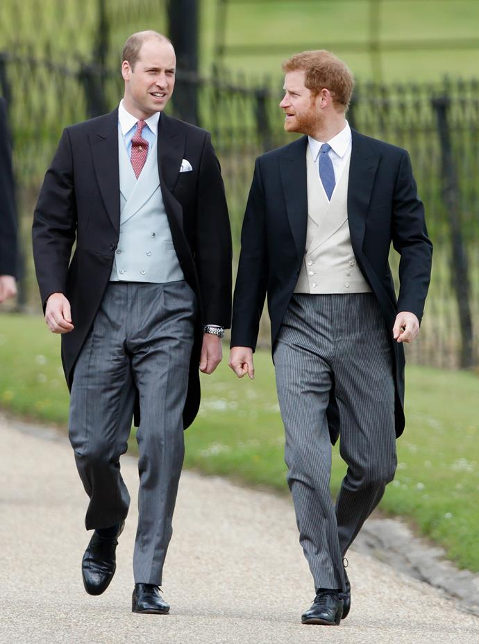 Princess William and Harry in morning coats.